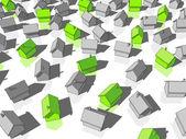 Zelené a šedé domy — Stock vektor