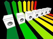 Seven washing machines — Stock Vector