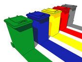 Cinq poubelles — Vecteur