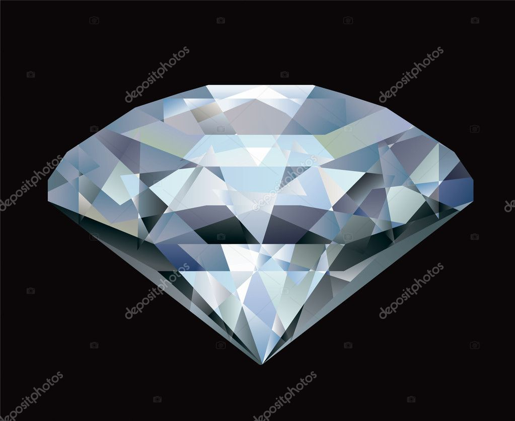 Realistic diamond illustration on black background  — Stock Vector #5436912