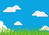 Vector green grass and blue sky — Stock Vector