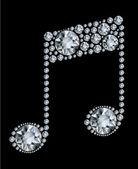 Diamond Music Note on black background — Stock Vector