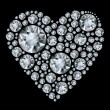 Vector shiny diamond heart on black background — Imagen vectorial