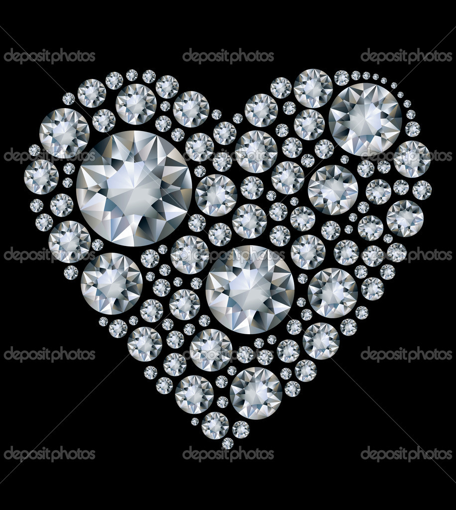 Vector shiny diamond heart on black background  Stock Vector #5676369