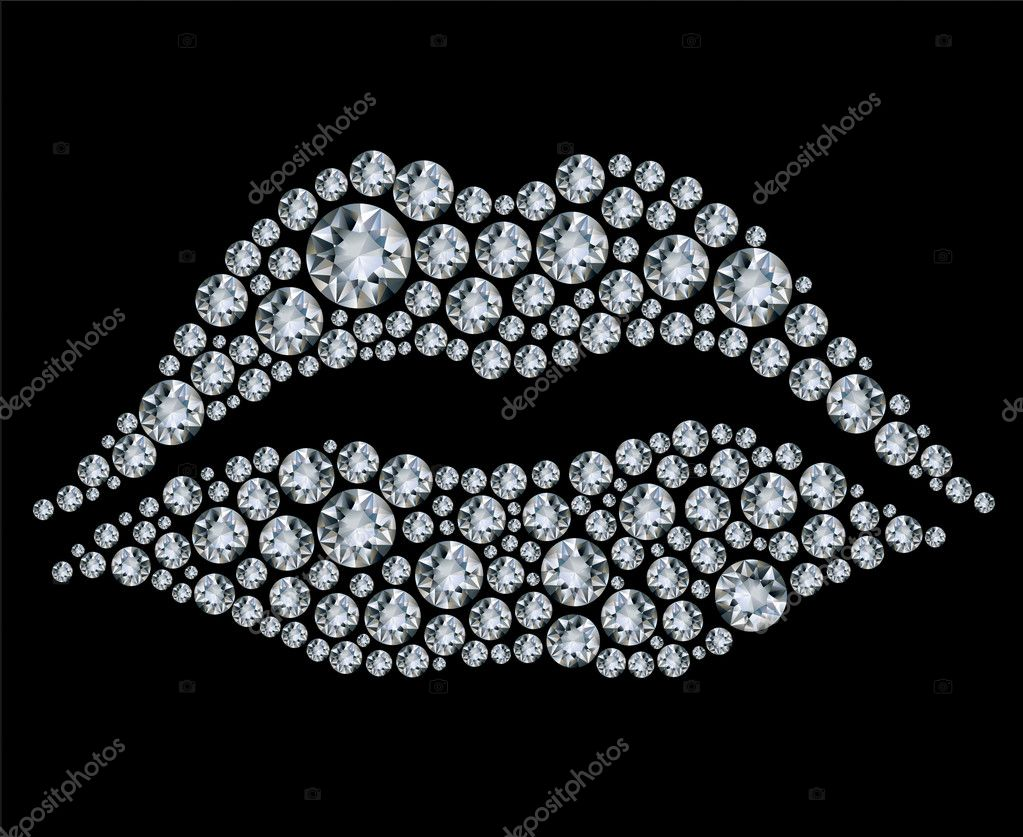 Vector shiny diamond heart on black background — Stock Vector #5783736