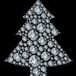 árbol de Navidad hecho de diamantes — Vector de stock