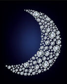 Moon shape made up a lot of diamond — Stock Vector
