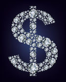 Dollar symbol in diamonds. — Stock Vector