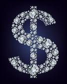 Dollar symbol in diamonds. — Stock Vector