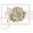 Vector blank post stamp with rose — Stock Vector