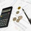 Calculator, money, graph and pencil — Stock Photo