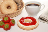Breakfast with bagels — Stock Photo