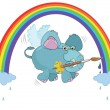An elephant paints a rainbow - Stock Vector