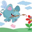An elephant paints a flower - Stock Vector