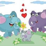 famille d'éléphants — Vecteur
