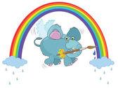 An elephant paints a rainbow — Stok Vektör