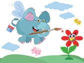 An elephant paints a flower — Stock Vector