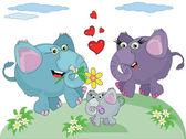 Family of elephants — Stock Vector