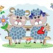 Two sheep — Imagen vectorial