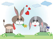 Two donkeys in love — Stock Vector