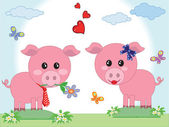 Two pigs in love — Stock Vector