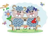 Duas ovelhas — Vetorial Stock