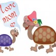 Mothers day,turtles — Stock Vector