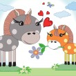 Mothers day,horses - Stock Vector