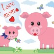Stock Vector: Mothers day,pigs