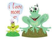 Mothers day,frogs — Stock Vector