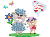 Mothers day,sheep — Stock Vector