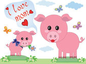 Mothers day,pigs — Stock Vector