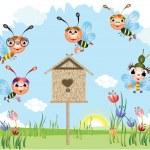 legrační včely — Stock vektor