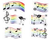 Music rainbows set — Stock Vector