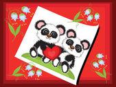 Postcard with pandas — Stock Vector