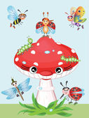 Mushroom and insects — Stock Vector