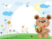 Summer frame with bear — Stock Vector