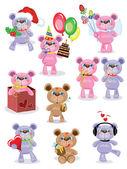 Holiday set ,Teddy bears,vector. — Stock Vector