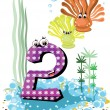 Stock Vector: Sea animals and numbers series for kids 2 coralls