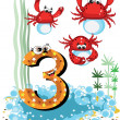 Sea animals and numbers series for kids ,3,crabs — Stock Vector #6033942