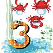Sea animals and numbers series for kids ,3,crabs — Stock Vector