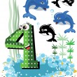 Sea animals and numbers series for kids ,4,dolphin. - Stock Vector