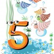 Sea animals and numbers series for kids ,5,shells — Stock Vector