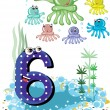 Sea animals and numbers series for kids ,6,octopuses - Stock Vector
