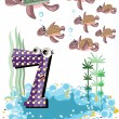 Stock Vector: Seanimals and numbers series for kids ,7 turtles