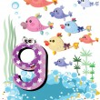 Sea animals and numbers series for kids ,9 fish — Stock Vector