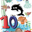 Stock Vector: Seanimals and numbers series for kids ,10