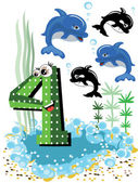 Sea animals and numbers series for kids ,4,dolphin. — Stock Vector