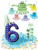 Sea animals and numbers series for kids ,6,octopuses — Stock Vector