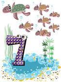 Sea animals and numbers series for kids ,7 turtles — Stock Vector